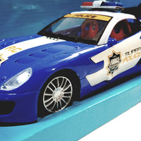 Weishengda Blue & White Police Squad Car Racing Control 1/16 Scale R/C Fully Functional 27MHZ Vehicle