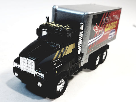Showcasts Black & Silver International Cargo Services Box Truck 1/48 Scale Diecast Truck