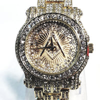 Techno Pave Gold Tone Lab Diamond Gold Face Freee Mason Design Men Watch Metal Band Bling 6933