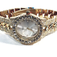 Techno Pave Gold Finish Iced Out Large Lab Diamonds On Case Iced Round Silver Face Mens Watch Metal Iced Band 8653 …