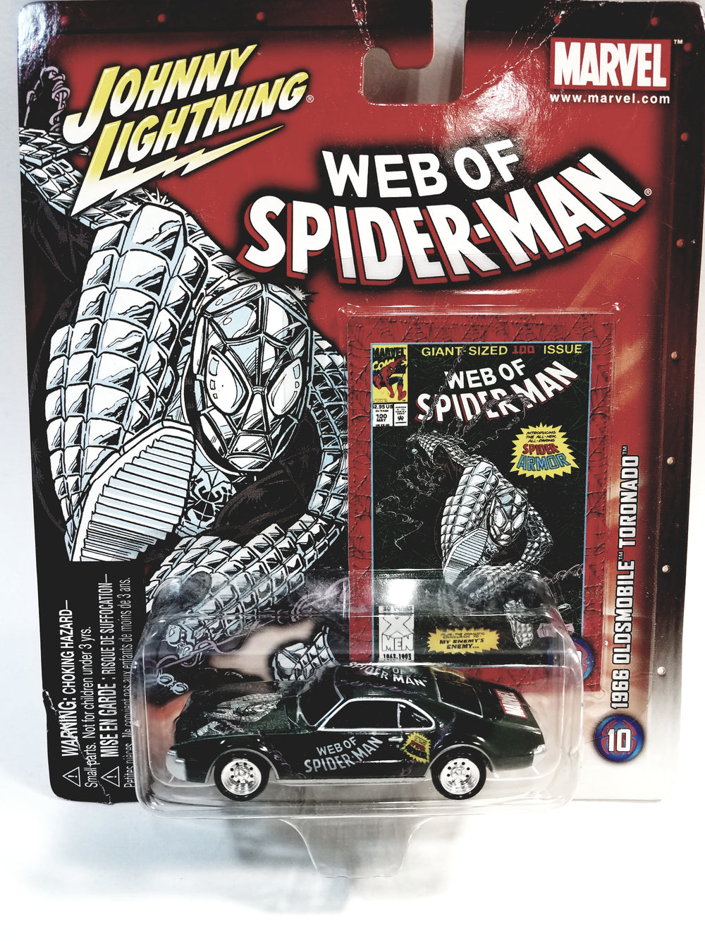 Johnny Lightning Web Of Spiderman Green 1966 Oldsmobile Tornado Collectors Edition 1/64 Scale Diecast Car