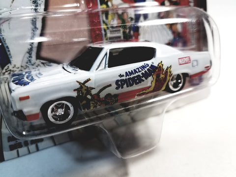 Johnny Lightning The Amazing Spiderman White 1970 AMC Rebel Machine Collectors Edition The Wedding 1/64 Scale Diecast Car