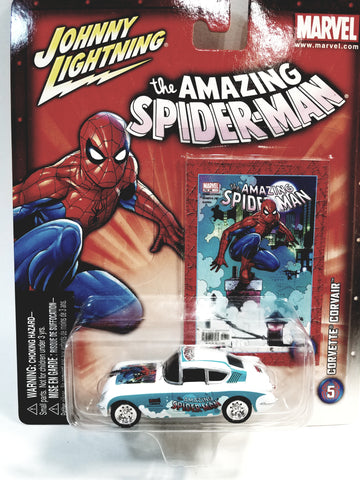 Johnny Lightning The Amazing Spiderman White Corvette Corvair Collectors Edition 1/64 Scale Diecast Car