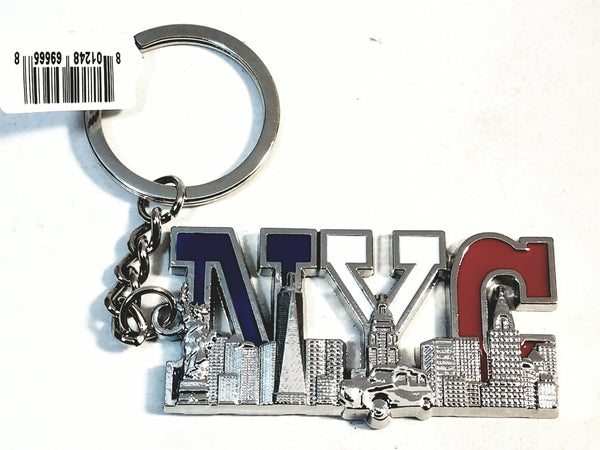 "Silver New York City American Flag Red White & Blue  4.75"" NYC Keychain"