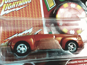 Johnny Lightning #9 Poker 2004 Chevy SET With Card & Poker Chip 1/64 Scale Diecast Car
