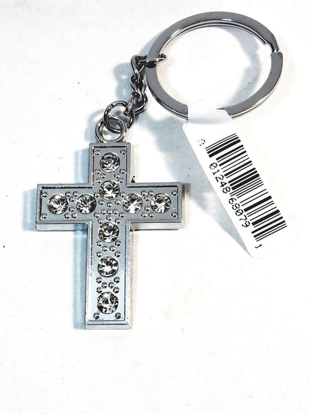 Silver Plated Lab Diamond Cross Bling Keychain