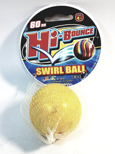 Hi-Bounce 60mm Swirl Lemon Yellow & White Marble High Bounce Ball In/Outdoor Toy