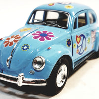 Kinsmart Volkswagen VW Love & Peace Classic 1967 Blue Beetle 1/32 Diecast Car