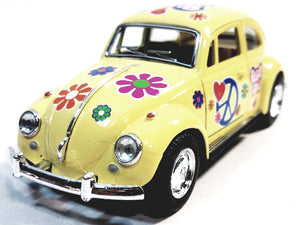 Kinsmart Volkswagen VW Love & Peace Classic 1967 Yellow Beetle 1/32 Diecast Car