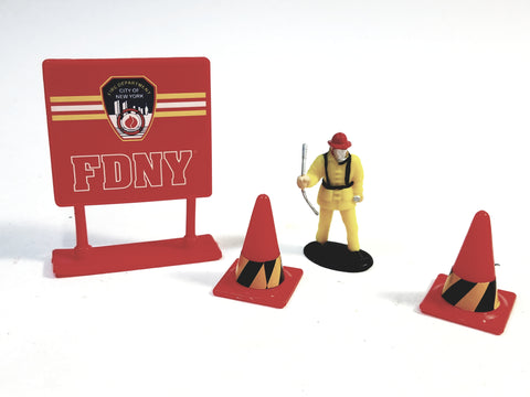 Daron New York City FDNY Fireman Figure With Crobar Cones & Sign Accessory 1/64 S Scale (No Box).