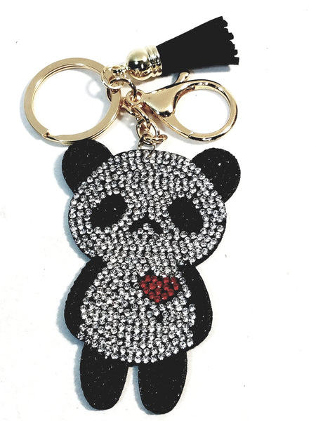 Panda Bear With A Heart Studded Lab Diamond Bling Keychain