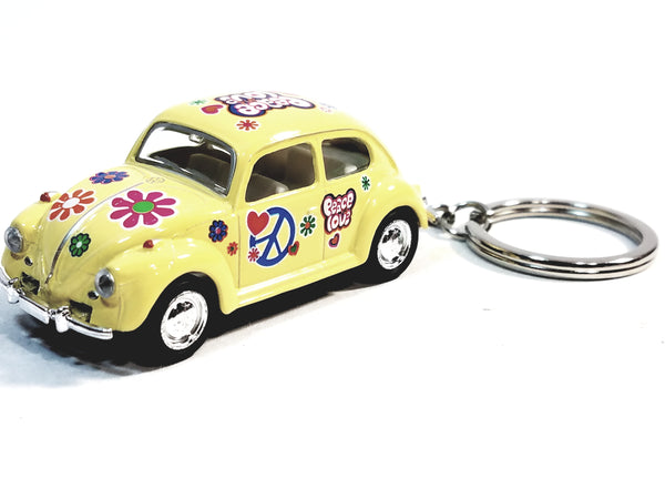 Kinsmart Volkswagen VW Classic Love & Peace Yellow Beetle Keychain 1/64 Diecast Car