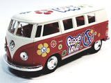 Kinsmart Volkswagen VW Love & Peace Candy Apple Red 1/32 Hippie Diecast Bus