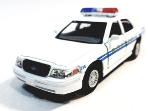 Kinsmart Ford Crown Victoria White Training Police Dept Squad Car 1/43 O Scal...