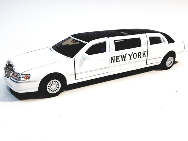 Kinsmart Ford Limousine Lincoln Town Car 1999 White NEW YORK Stretch Limo 1/38 Diecast.