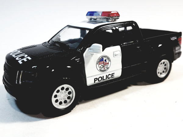 Kinsmart Ford F-150 Raptor SVT  2013 Black & White Police Supercrew 1/46 O Scale Diecast Car