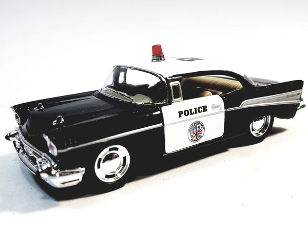 Kinsmart Chevy Bel Air 1957 Black & White Police Squad Car 1/40 O Scale Diecast