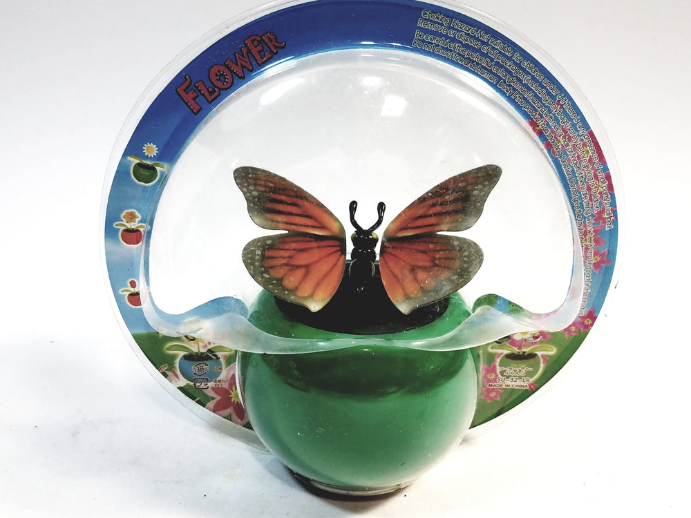 Green Butterfly Solar/Light Activated Flower Pot With 3D Grahics On Flapping ...