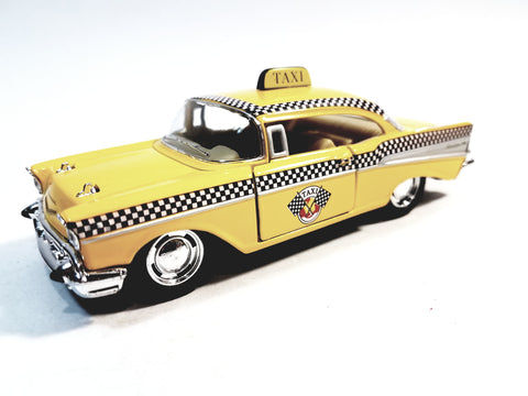 Kinsmart Chevy Bel Air 1957 Checker Yellow Taxi 1/40 O Scale Diecast