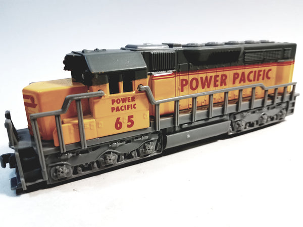 "SF Toys Freight Loco Power Pacific #65 Yellow & Gray Locomotive 7"" Diecast"