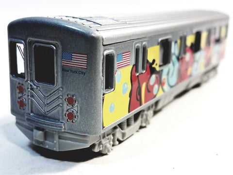 "SF Toys Metro NYC New York City 7"" Train Puffy Letter Tag Graffiti Retro Subway Car 1/100 Scale Diecast"