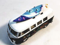 Kinsmart Volkswagen VW Love & Peace Classic Forest Green Bus w/ Surfboard 1/32 Diecast Microbus