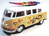 Kinsmart Volkswagen VW Love & Peace Classic Yellow Bus w/ Surfboard 1/32 Diecast Microbus