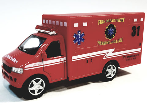 Kinsmart Ford E-350 Fire DEPT Red Paramedic Ambulance 1/43 Scale Emergency Truck.