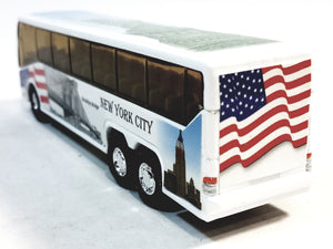 "SF Toys NYC Coach Bus Statue Of Liberty / Bklyn Bridge / USS Intrepid New York City 6"" Diecast Bus"