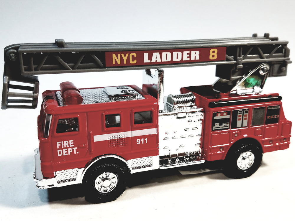 Modern FD Red & Silver Fire Engine with Extension Ladder 5.25