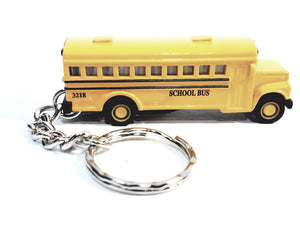 "Kinsmart Yellow Public City School BUS 2.5 "" 1/150 N Scale Diecast Bus Keychain"