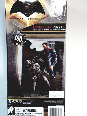 "Cardinal DC Comics Batman vs Superman Venticular 100 Piece 9""x12"" Puzzle Set Jigsaw Puzzle Collectors"