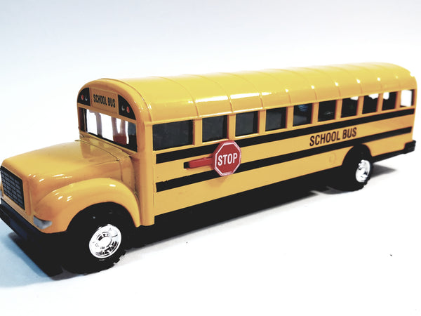"SF Toys Classic Yellow Public City School Bus 8.5"" Diecast Commercial Passenger Vehicle"