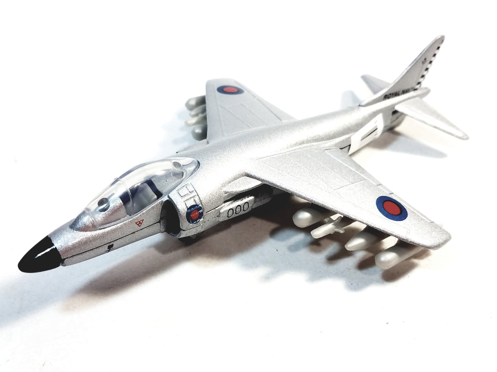 Showcasts Collectibles Royal Navy Grey Boeing AV-8B Harrier II British Aircraft 1/100 Scale Diecast Plane