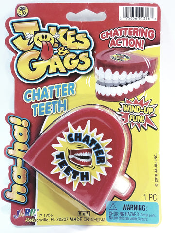 "Gags & Jokes Retro Funny Large Chattering Teeth 2.5"" Wind Up Realistic Looking Prank Novelty"