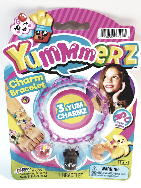Yummmerz Cotton Candy Pink Charm Bracelet & 3 Yum Charms Set with EZ Sizing