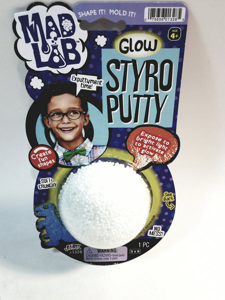 Mad Lab Dr Wacko Styro Putty Glow in The Dark Winter White 60g Large Plastic Container of Goop