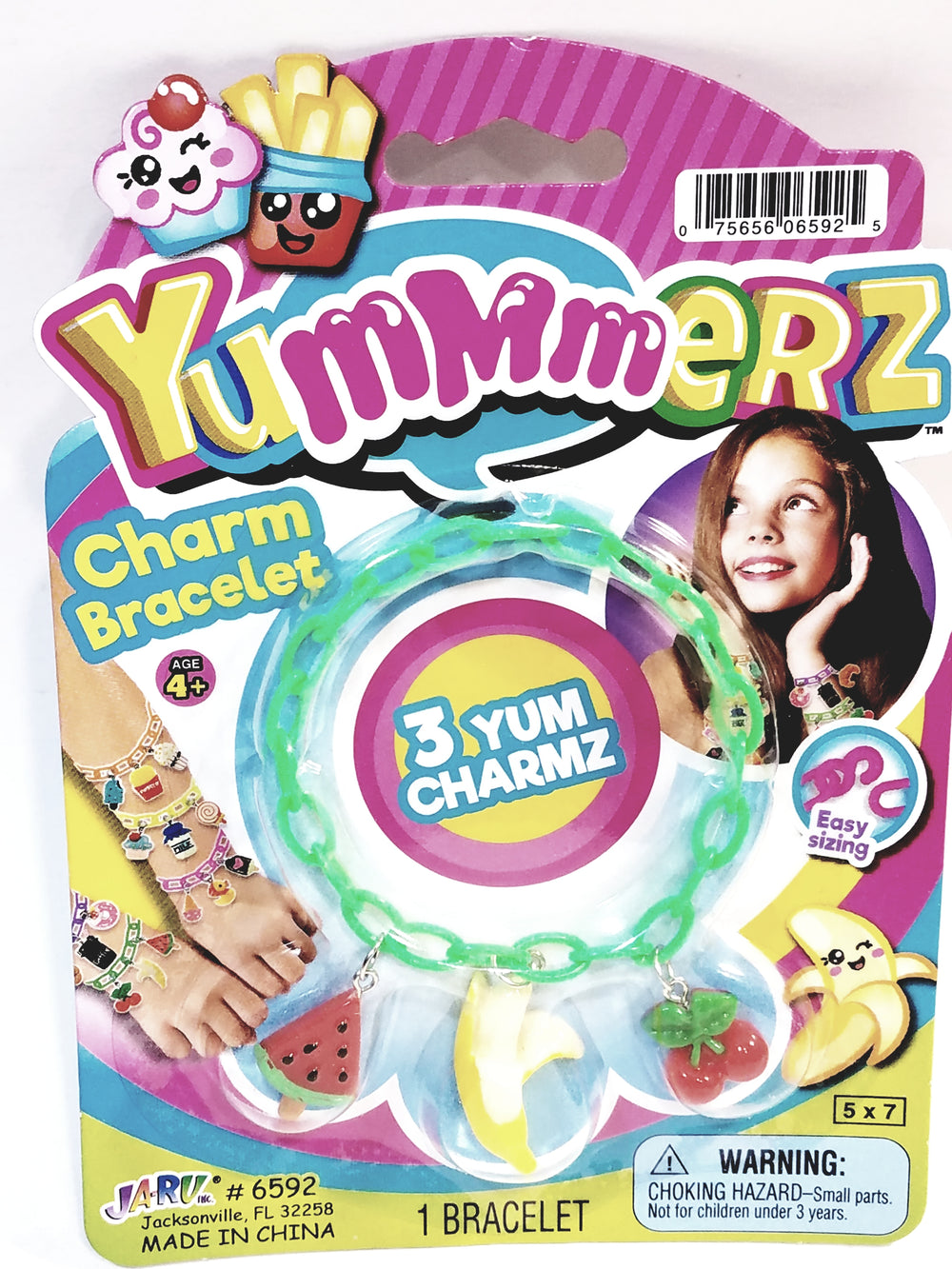 Yummmerz Lime Green Charm Bracelet & 3 Yum Charms Set with EZ Sizing
