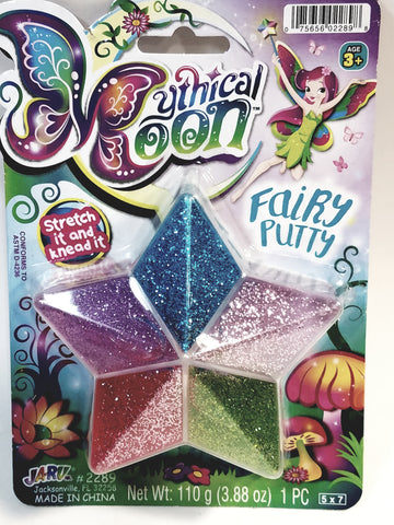 Mythical Moon Fairy Metallic 5 Color Glitter Putty 5 With Clear Star Shape Case 110g In 3.88 oz Container Of Goop
