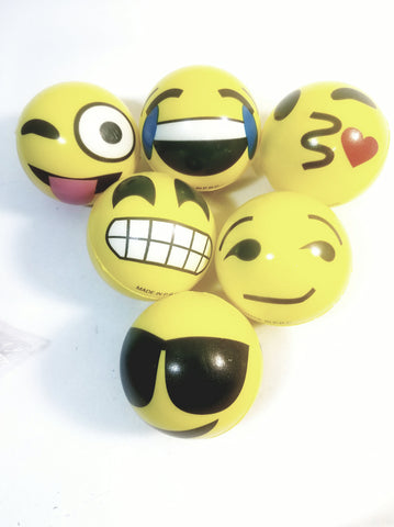 emoji Complete Set of 12 Expression Faces Soft Squeeze Bouncing Balls