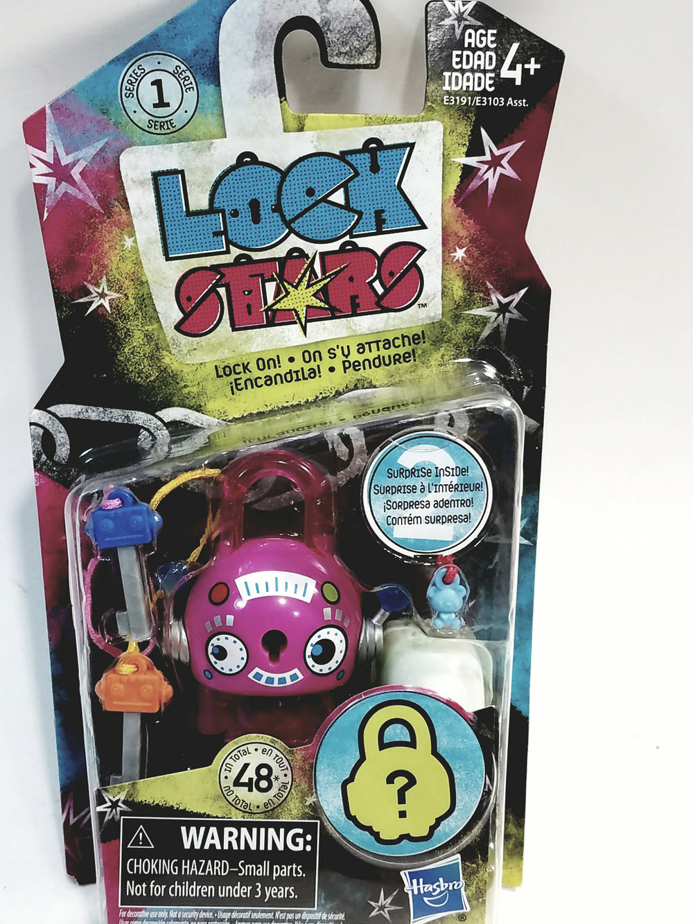 Lock Stars Series 1 Pink Robot Lock Two Keys & 2 Mystery Charms