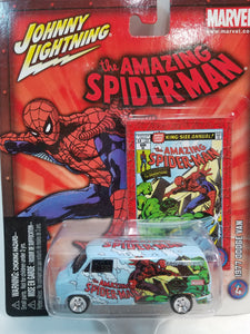 Johnny Lightning The Amazing Spiderman Blue 1977 Dodge Van Collectors Edition 1/64 Scale Diecast Car