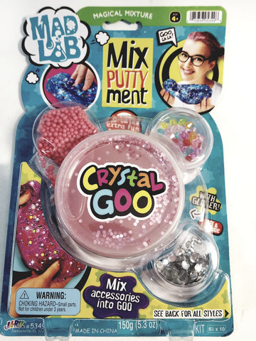 Mad Lab Magical Mixputtyment Pink Crystal Goo 80g Large Plastic Container of Goop & Accessories