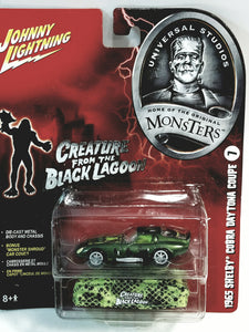 Johnny Lightning Universal Studios Monsters #7 Creature From Black Lagoon 1965 Cobra Daytona Coupe 1/64 Scale Diecast Car