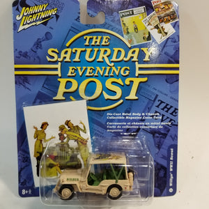 Johnny Lightning #2 Saturday Evening Post Willy's WWII Scout Military Vehicle 1/64 Scale Diecast Car