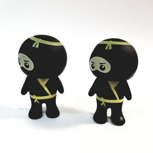 Basic Toy Mini Buddies Yellow Belt Ninja Warrior Set of 2 Figures with Articulated Rotating Head