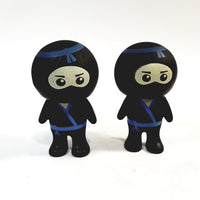Basic Toy Mini Buddies Blue Belt Ninja Warrior Set of 2 Figures with Articulated Rotating Head
