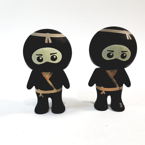 Basic Toy Mini Buddies Orange Belt Ninja Warrior Set of 2 Figures with Articulated Rotating Head