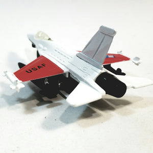 "SF Toys Red & White Lockheed Martin F-16 Fighting Falcon US Air Force Fighter Aircraft 4.85"" Scale Diecast Plane"