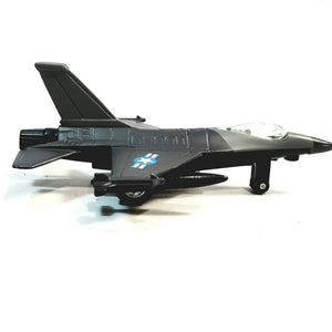 "SF Toys Gun Metal Black Lockheed Martin F-16 Fighting Falcon US Air Force Fighter Aircraft 4.85"" Scale Diecast Plane"